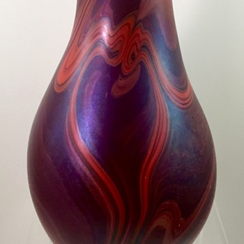 Early James Lundberg marbled vase, signed and dated 1972 - Art Glass