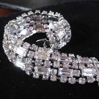 Clear Rhinestone 5 row bracelet KRAMER of NY - Costume Jewelry