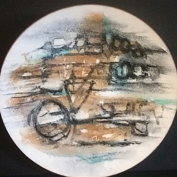 Abstract enamel dish - Mid-Century Modern