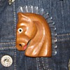 1940's-50's wood & lucite horse pin with acetate scarf