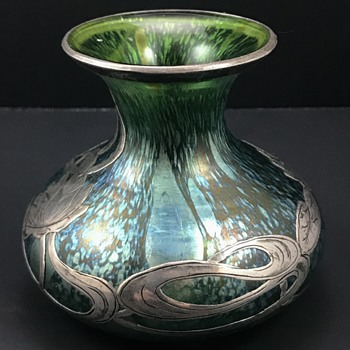 Loetz cabinet vase with silver overlay, decor and PN unknown, ca. 1901 - Art Glass