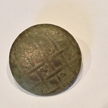 Brass button with basket weave print - Sewing
