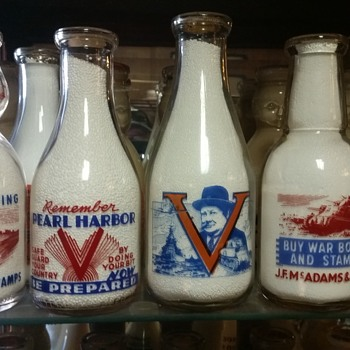 Variety of 2 color war slogans including a Churchill example, Remember Pearl Harbor.....