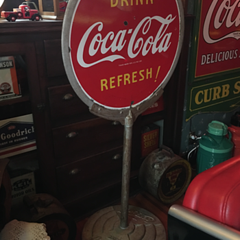 Coca-Cola  Porcelain Lollipop Sign with the Coca-Cola base - Coca-Cola