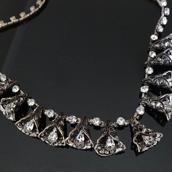 CZECH FILIGREE RHINESTONE NECKLACE I think. - Costume Jewelry