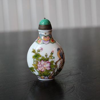 Porcelain on Glass Snuff Bottle - Asian