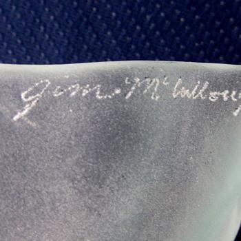 Light green glass squar dish signed Jim Mc???? - Art Glass