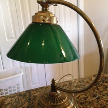 Bankers Lamp with Emeralite Cone Shaped Shade, Goose Necked.