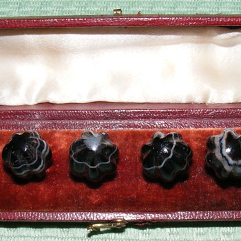 Original Box of Antique Scottish Agate Waistcoat Buttons - Sewing