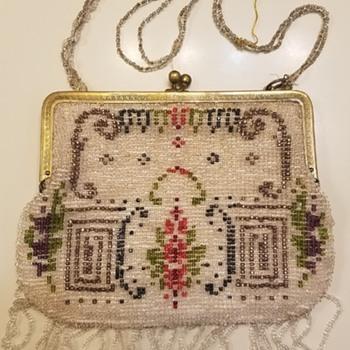 Beautiful 1917 Beaded Purse Geometric Design - Bags