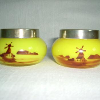 Czech Art Deco Tango Glass Open Salts - Art Glass