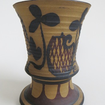 Pottery Vase, Unglazed Exterior w/Folk? Painted Design~Nice, Unknown, Signature - Pottery