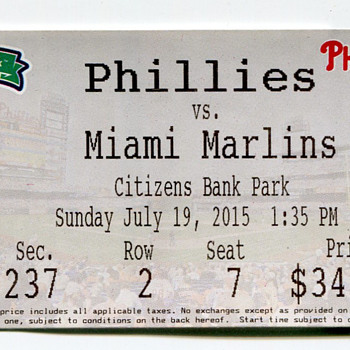 Phillies Baseball Ticket 2015... - Baseball