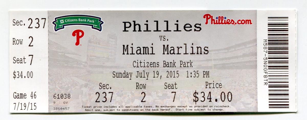 phillies baseball ticket 2015 collectors weekly