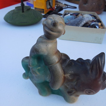 Vintage Danish Pottery Donkey and Smiling Rider Figurine Designed by Marianne Starck for Michael Andersen - Figurines