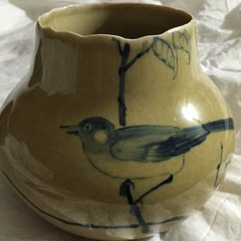 Little blue bird vase - Pottery