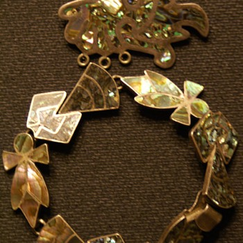 Vintage Mother of Pearl I Think Brooch and Bracelet Sterling 925 - Costume Jewelry