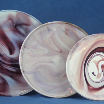 Purple and White Slag Glass Cake Stands - Glassware