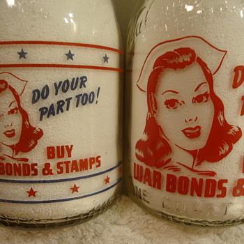REITER DAIRY...CHICAGO ILLINOIS & WALNUT GROVE DAIRY... ALTON ILLINOIS WAR SLOGAN MILK BOTTLES - Bottles