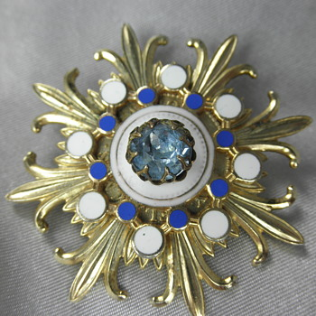 Gold-Tone & Enamel Starburst Brooch with Partly Hidden Letters - Costume Jewelry