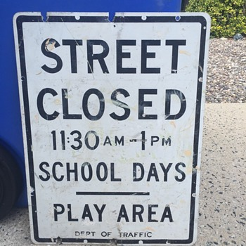 1960s New York City Play Area Sign - Signs