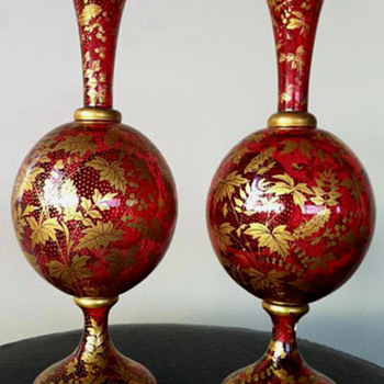 A PAIR OF JOSEPHINEHUTTE GLASS VASES c1870 - Art Glass