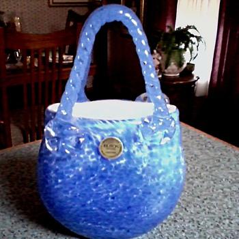 """Block"" Crystal /Hand Made Blown Glass Purse Vase/ Blue Confetti Design/ Circa 19??-20?? - Art Glass"
