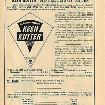 Keen Kutter catalog page Advertising Kite (Bonus daily item) - Paper