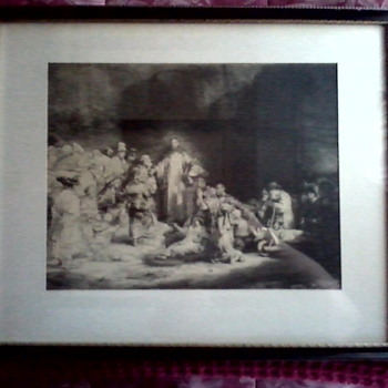 "Rembrandt Engraving ""Christ Healing the Sick"" AKA ""The Hundred Guilder Print""/ Unknown Printer and Age - Posters and Prints"
