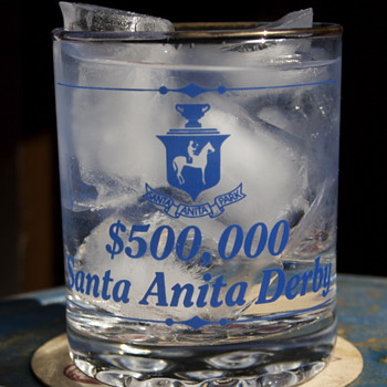 Santa Anita Derby Rocks Glass - Advertising