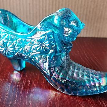 Boyd, Blue Flame, carnival glass shoe - Art Glass