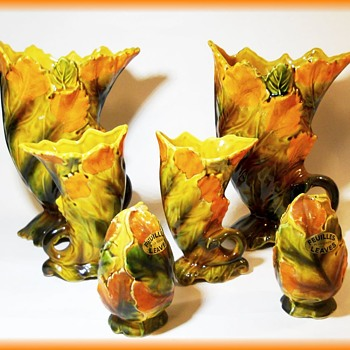Giftcraft Autumn Leaf Ceramic Pieces - 7 pieces - Mid-Century Modern