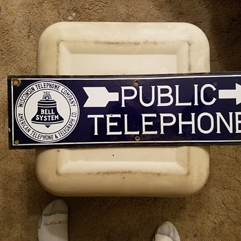 5 1/2×19 two sided porcelain Bell systems public phone sign
