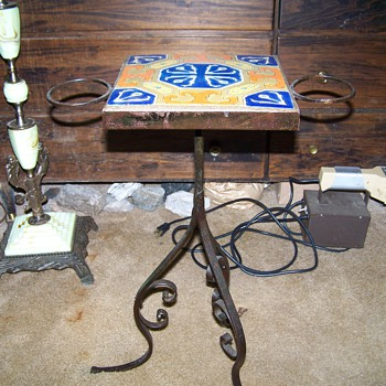 Old D&M Pottery Tiletop Wrought Iron Sidetable