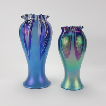 RINDSKOPF PULLED FEATHER ART GLASS VASES - Art Glass