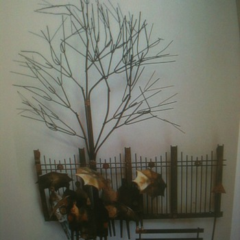 """1970's """" Bus Stop"""" Curtis Jere Wall Hanging  - Mid-Century Modern"""