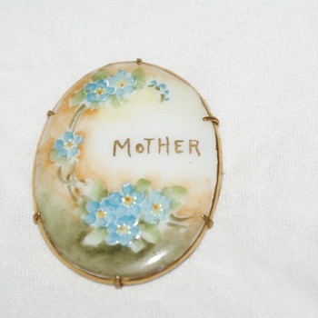 Hand-Painted Porcelain Brooch - Victorian? - Costume Jewelry