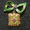Mystery 18k Gold Enamel & Ruby Bow Brooch