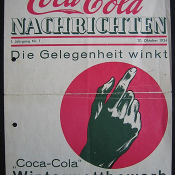 """the first issue of the coca-cola nachrichten issued in Germany. Year 1. No.1 October 1934 """" Opportunity is around"""" it says"""