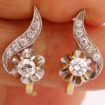 Antique Victorian Diamond 14k Earring 1.25ctw Russian - Fine Jewelry