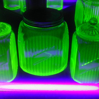 Set of 3 Green Uranium Canister Jars - Glassware