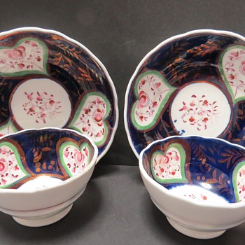 Gaudy Welsh cup and Saucers - China and Dinnerware