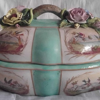 Meissen Blank Mark? Turquoise Tureen with Italian Capodimonte Style Relief Flowers - China and Dinnerware