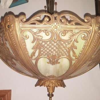 Bradley and Hubbard Lamp with ? Slag Glass Shade.