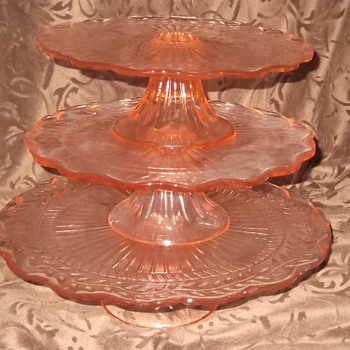 Pink Glass Cake Tray Set - Glassware