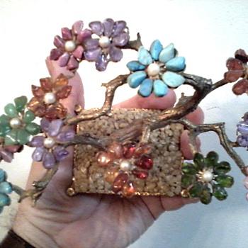 "Swoboda ""Genuine Gemstones"" Bonsai Tree With Cultured Pearls /Circa 1950's - Fine Jewelry"