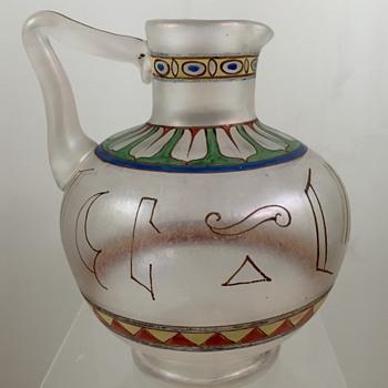 Rare Moser Egyptian revival ewer, PN 3325, Decoration 1512, ca. 1895/6 - Art Glass
