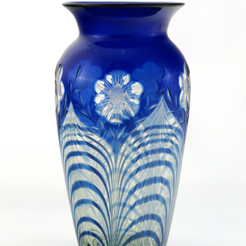 Durand 1708 Blue Over Crystal w Peacock Feather and Cut Floral Décor - Art Glass