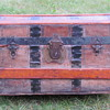 "24"" Leather Covered Roll Top Trunk"