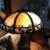 Unmarked Geese & Heron Slag Glass Lamp